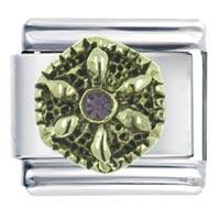 Golden Flower With Stone Italian Charms Bracelet Link X2 Italian Charm