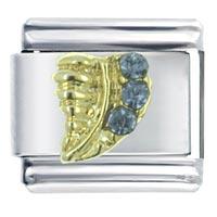 Rhinestone Leaf Italian Charms Bracelet Link X2 Italian Charm