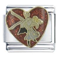 Dancing Couple 9 Mm Enamel Red Heart Italian Charms Bracelet Link X2 Italian Charm