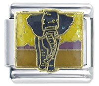 Enamel Elephant In Africa Animal Charm Italian Charms Bracelet Link X2 Italian Charm