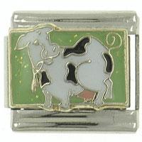 Cow In The Pasture Animal 9 Mm Enamel Italian Charm Bracelet Link X2 Italian Charm
