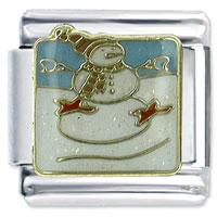 Christmas Gifts Snowman 9 Mm Enamel Italian Charms Bracelet Link X2 Italian Charm