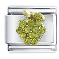 Green Apple Birthstone Italian Charms Bracelet Link X2 Italian Charm