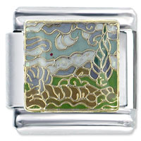Van Gogh S Road With Cypresses And Star Italian Charm Link 9 Mm X2 Italian Charm