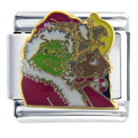 Santa Claus Christmas Gift The Grinch And Max Licensed Italian Charms Bracelet Link