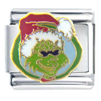 Santa Claus Christmas Gift Grinch In Sunglasses Licensed Italian Charms Bracelet Link X2 Italian Charm