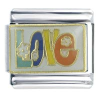 Flower Power Love Italian Charm Bracelet X2 Italian Charm