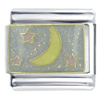 Moon And Stars Italian Charms Bracelet Link X2 Italian Charm