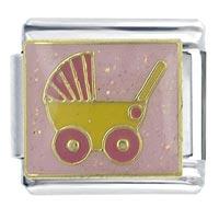 Pink Baby Carriage Italian Charms Bracelet Link X2 Italian Charm