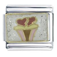Heart Cupcake X2 Italian Charm Bracelet