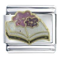 Open Book Flowers Italian Charms Bracelet X2 Italian Charm