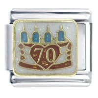 70 Th Birthday Italian Charms Bracelet Link X2  Italian Charm