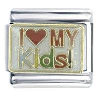 Enamel I Love My Kids Stainless Steel Italian Charm Bracelet Link X2 Italian Charm