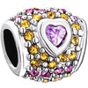 Heart Pink Crystal Full Yellow For Beads Charms Bracelets Fit All Brands