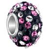 Shining Black Pink Birthstone Charm Silver Core