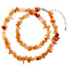 Carnelian Chip Stone Necklaces Gemstone Nugget Chips Stretch Pendant