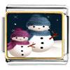 Two Snowman Photo Italian Charm For Link Bracelet