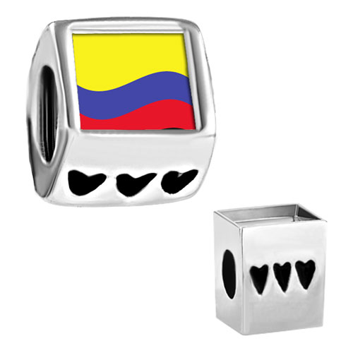 Charms Beads - colombia flag fit all charm bracelets photo heart european beads Image.
