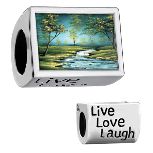 "Items from KS - words "" live love laugh""  with forest riverlet and green trees photo beads charms bracelets Image."