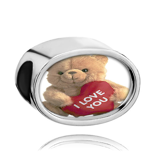 Charms Beads - heart photo pink crystal i love you bear beads charms bracelets Image.