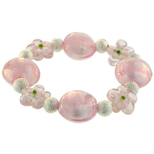 Bracelets - handmade pink flower ideas mother beads murano glass bracelet Image.