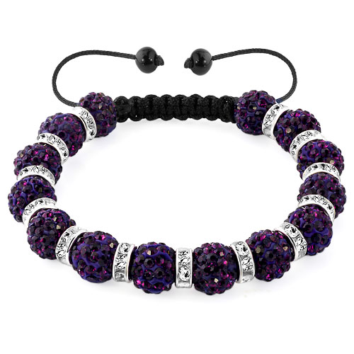 KSEB SHEB Items - shamballa bracelet amethyst purple silver crystal disco balls lace adjustable Image.