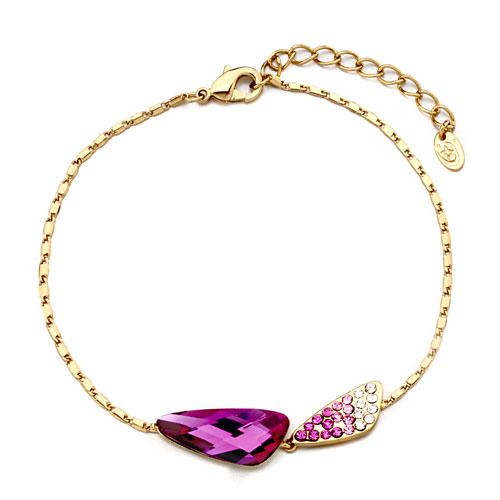 Bracelets - golden chain angle wing fuchsia rhinestone swarovski crystal utopian drop ankle bracelet ank Image.