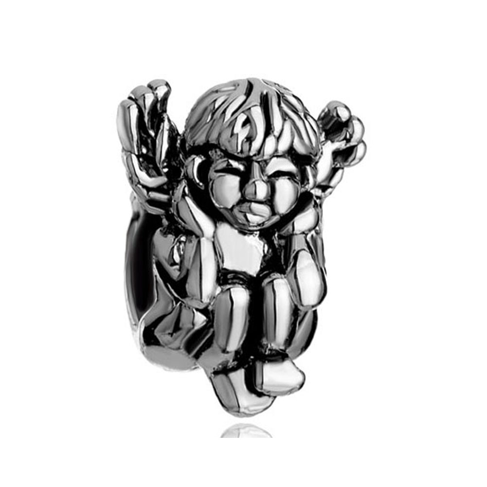 Charms Beads - silver angel squatting hear no evil european bead charms bracelets Image.
