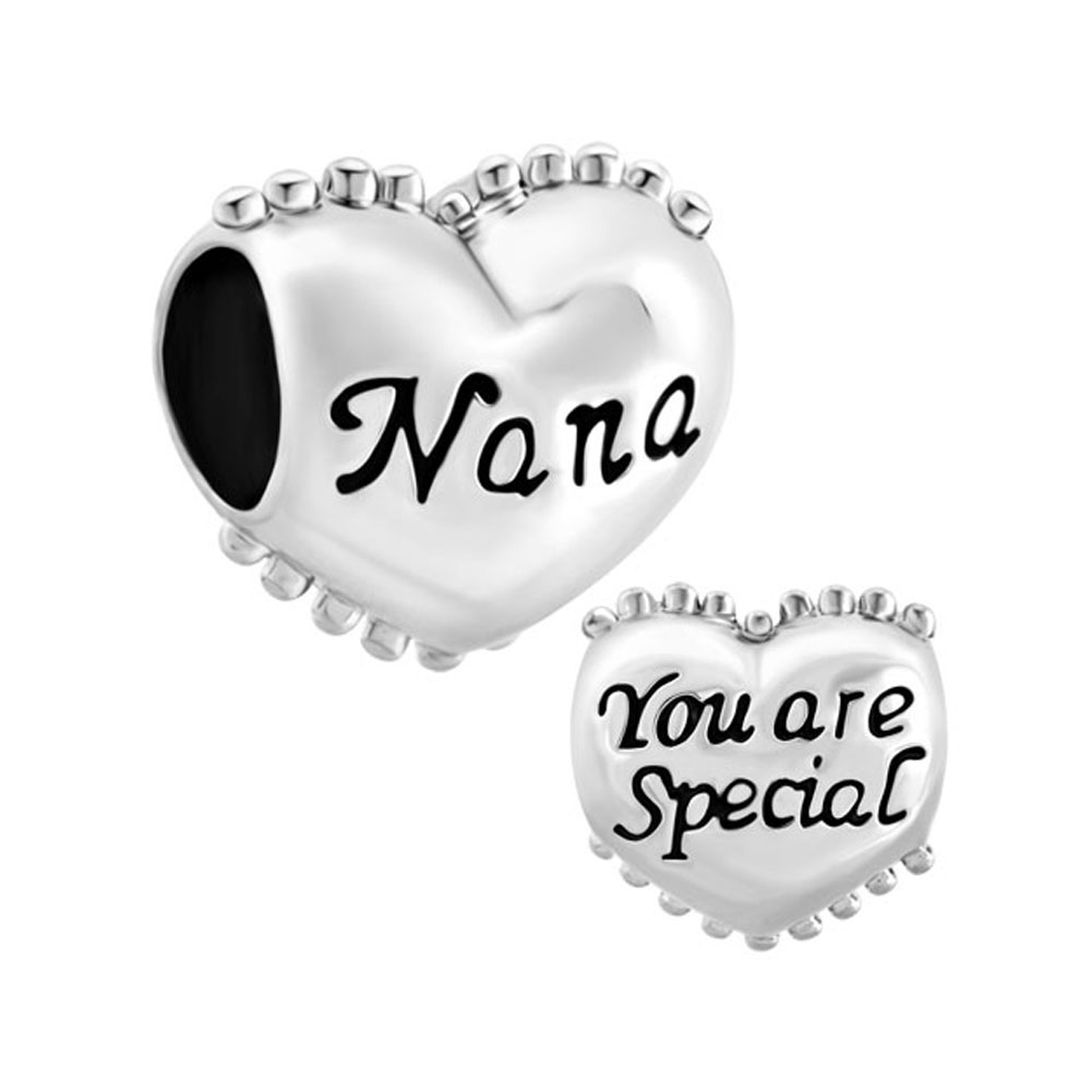 925 sterling charms - 925  sterling silver heart nana you are special charm bracelet spacers silver bracelets Image.