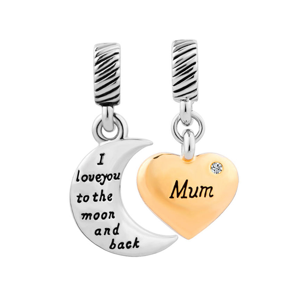 Italian Charms - gold plate heart moon mum april birthstone i love you to the and back murano glass loose beads fit all brands Image.