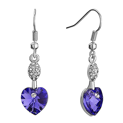 Earrings - swarovski crystal oval crystal february birthstone purple heart dangle fish hook earrings Image.