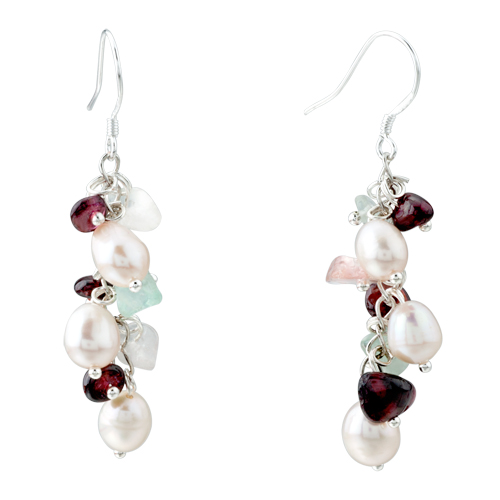 Earrings - chip stone earrings genuine pearl red gemstone nugget chips dangle earring Image.