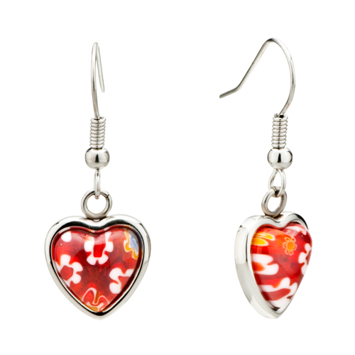 Earrings - red heart flower millefiori murano glass dangle earrings Image.
