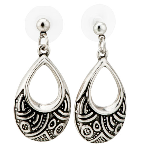 Earrings - vintage pave teardrop dangle silver plated glam earrings Image.