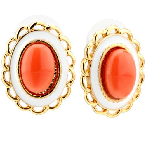 Earrings - classy orange resin oval elegant stud earrings 14 k gold plated Image.