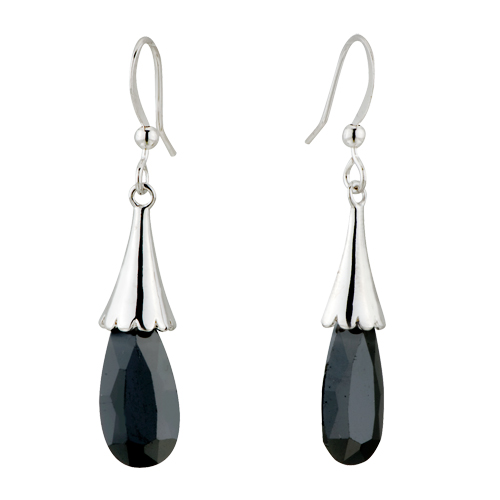 New Year Deals - black becket droplet swarovski crystal earrings Image.