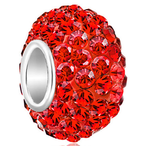 Sterling Silver Jewelry - birthstone charms 925 sterling silver gorgeous red crystal bead fit bead Image.