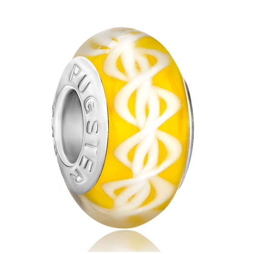 Charms Beads - citrine yellow dna structure helix robbin stripes fit all brands murano glass beads charms bracelets Image.