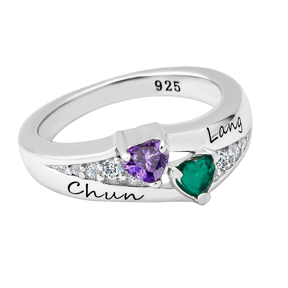 Rings - 925  sterling silver birthstone and cubic zirconia couple' s sweetheart ring (2  stones and names)  size  6 Image.