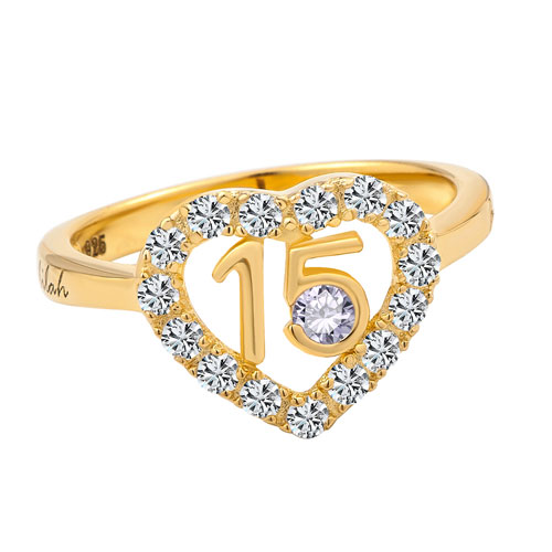 Rings - personalized 10 k gold plate quinceanera birthstone ring cz accents size  10 Image.