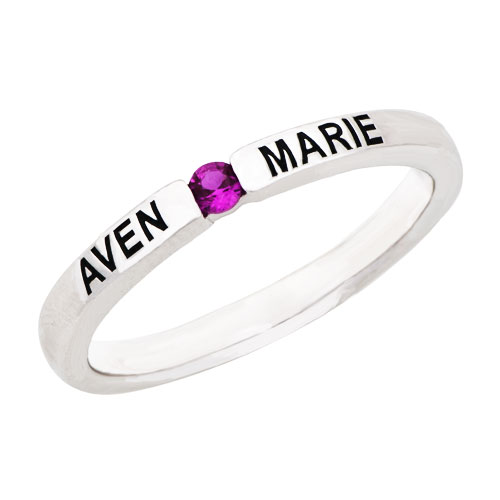 Rings - engravable stackable simulated birthstone band in sterling silver (1  stone and 2  names) 8   ring Image.
