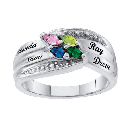 New Year Deals - mom' s personalized marquise birthstone ring 10 k white gold plated(2 6  stones and names)  size  13 Image.
