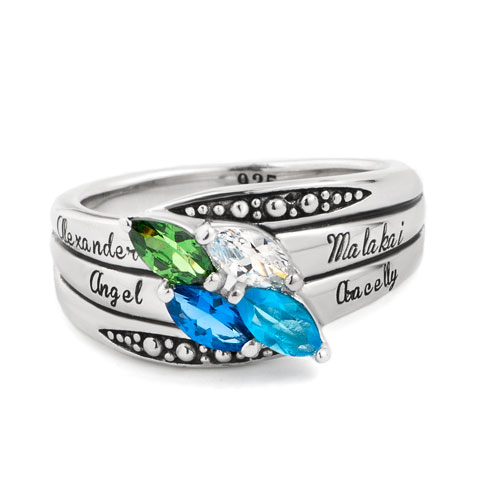 Rings - mother' s mom personalized marquise birthstone ring in 925  sterling silver (2 6  stones and names)  size  5 Image.