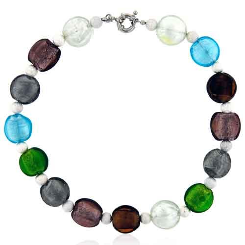 Murano Glass Jewelry - round multicolor fashion jewelry off shoulder murano glass pendant necklace  & Image.