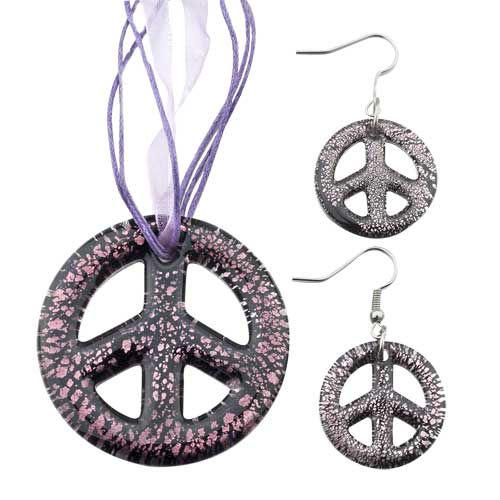 Necklace & Pendants - purple peace sign pendant &  earrings murano glass jewelry set Image.