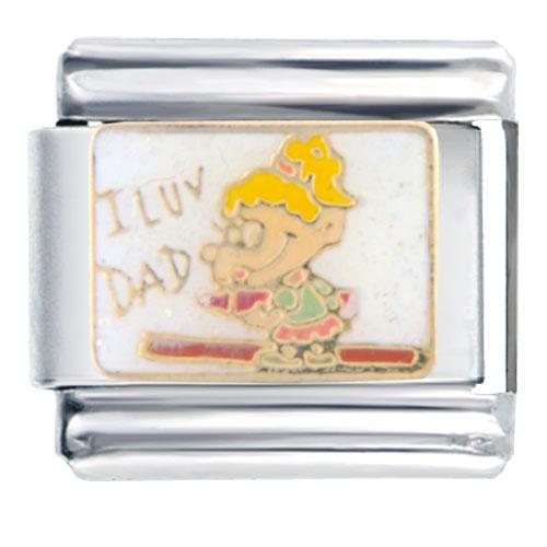 Italian Charms - heart girl loves dad italian charm bracelet bracelet link Image.