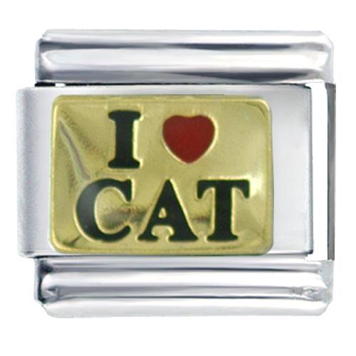 Italian Charms - i heart love cat italian charm bracelet Image.