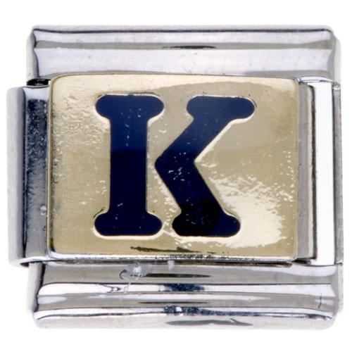 Italian Charms - letter k golden italian charm bracelets laser italian charm Image.