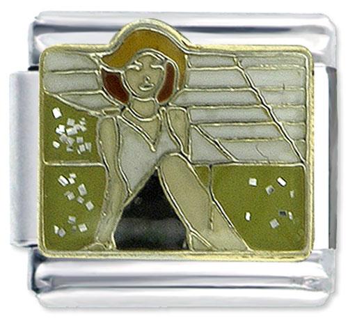 Italian Charms - fashion lady 9 mm enamel italian charms stainless steel bracelet link x2  italian charm Image.