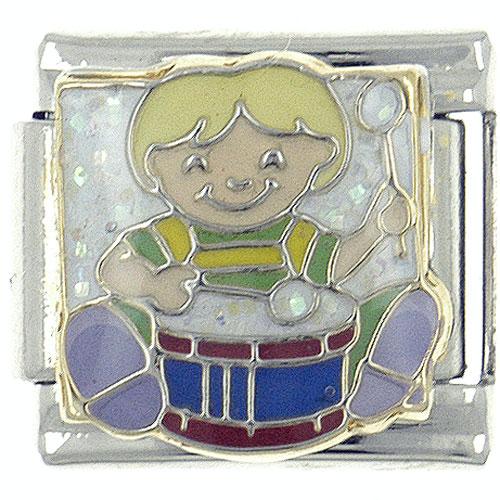 Italian Charms - enamel drummer boy musical italian charm stainless steel 9 mm link x2  italian charm Image.
